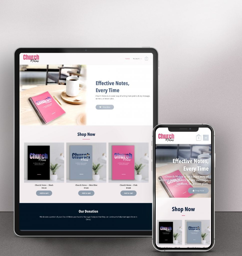 ipad and cell phone mockups of church notes