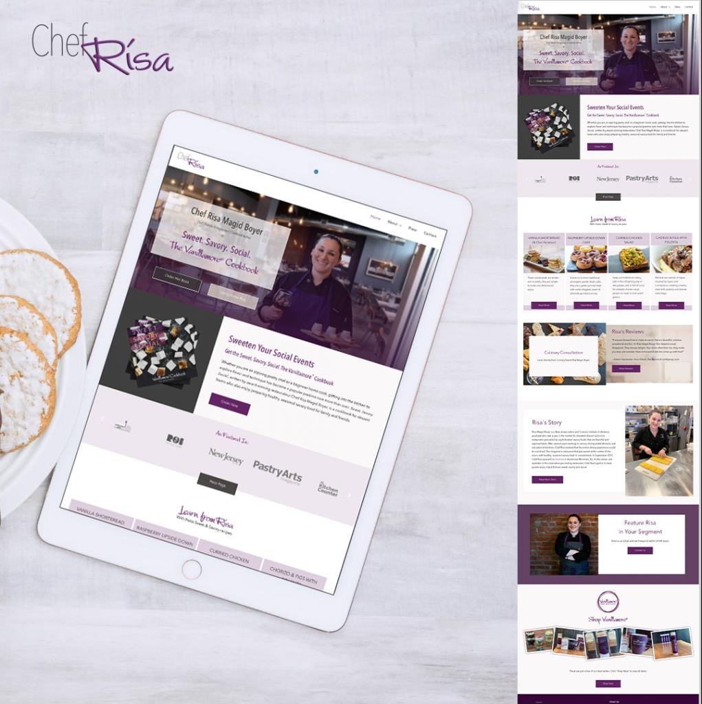 portfolio image of chef risa website layout